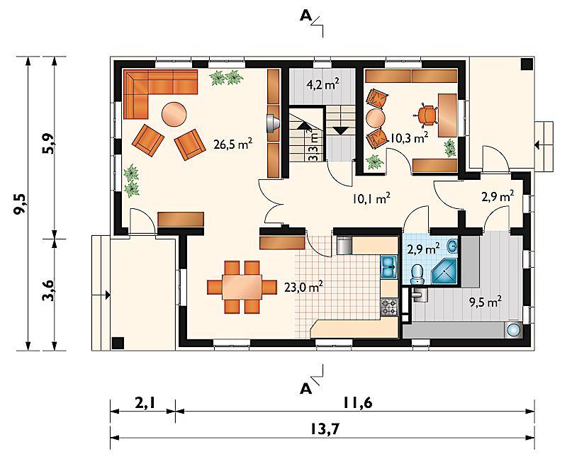 Проект дома Адам - зеркальное отражение (E-3)