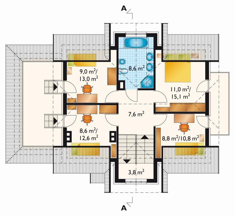 Проект дома Агава - зеркальное отражение (E-8)
