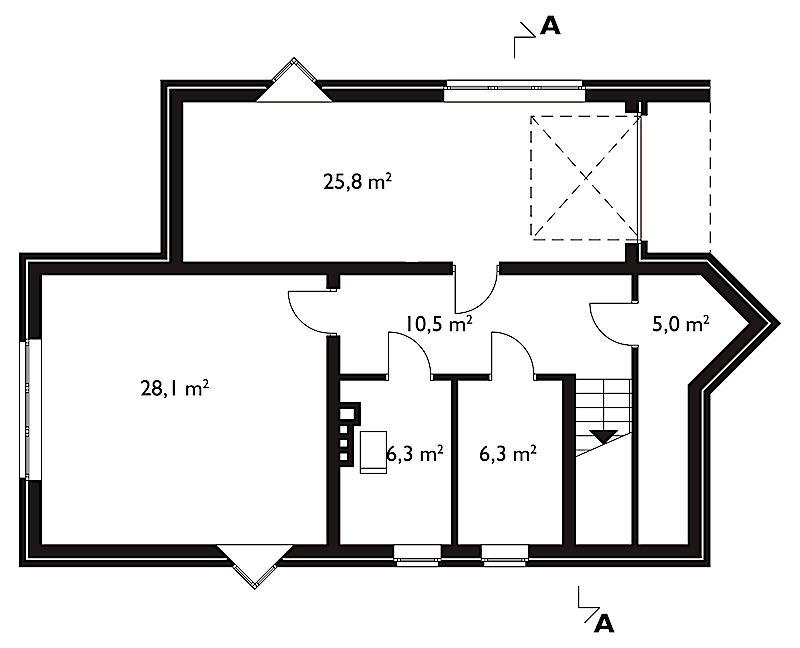 Проект коттеджа Акация - зеркальное отражение (E-10)