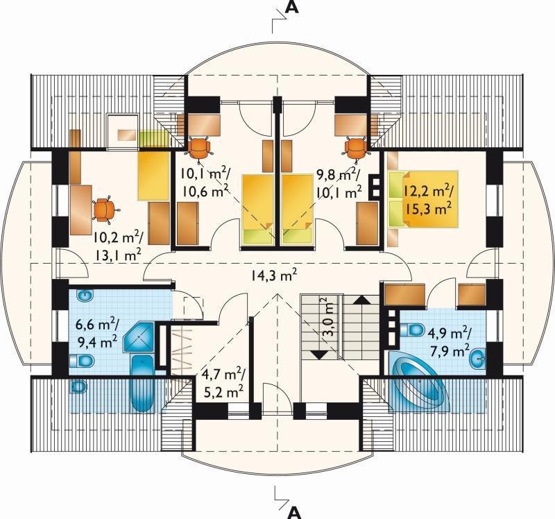 Проект коттеджа Акорд - зеркальное отражение (E-12)