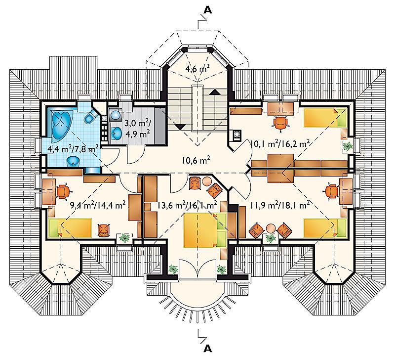 Проект дома Амадеус - зеркальное отражение (E-582)