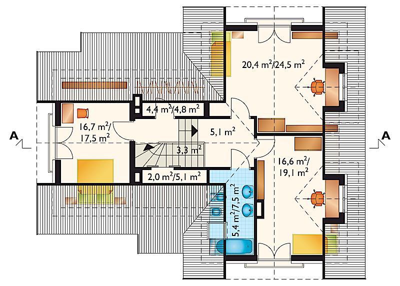 Проект дома Амариллис - зеркальное отражение (E-21)