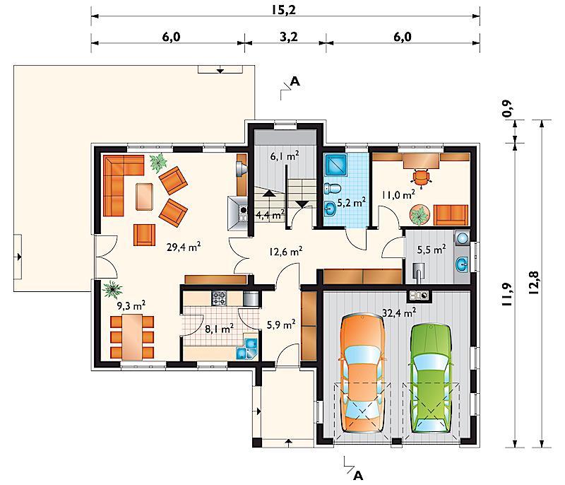 Проект дома Амбер - зеркальное отражение (E-22)