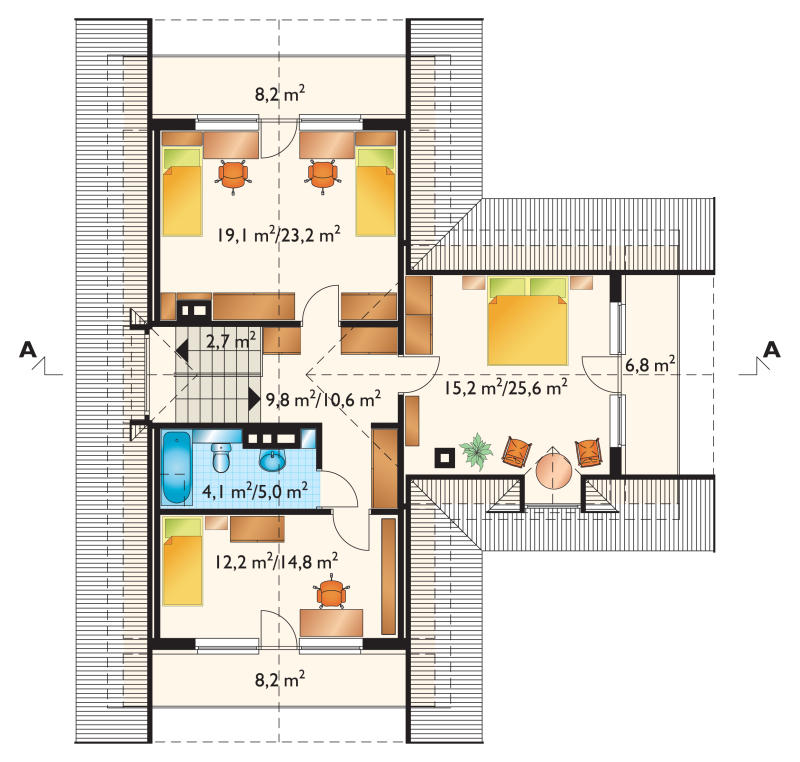 Проект дома Арония - зеркальное отражение (E-36)