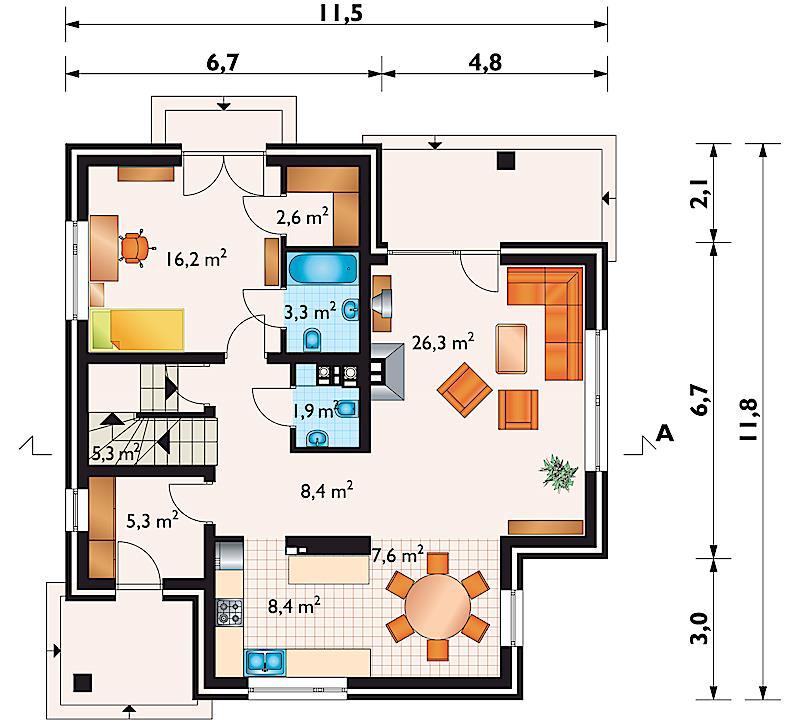 Проект дома Артемон - зеркальное отражение (E-581)