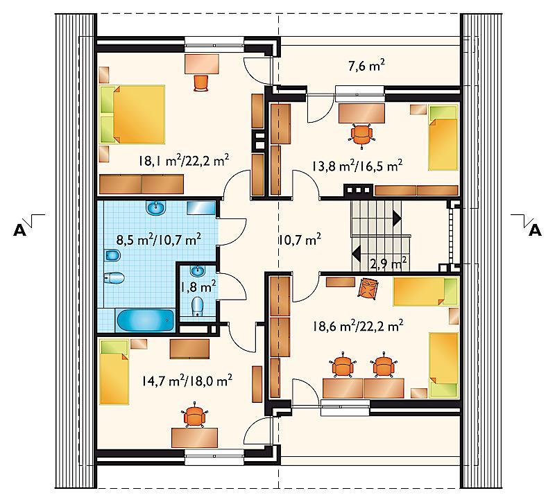 Проект дома Атут - зеркальное отражение (E-42)