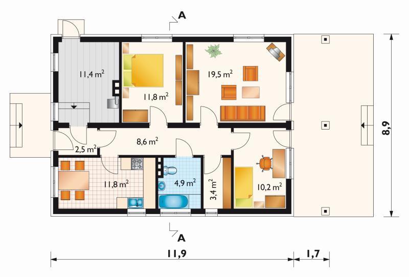 Проект дома Баба-Яга - зеркальное отражение (E-46)