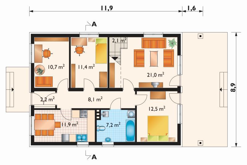 Проект дома Баба Яга-2 - зеркальное отражение (E-47)