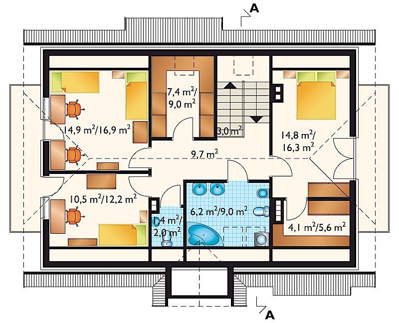Проект дома Аврора - зеркальное отражение (E-54)