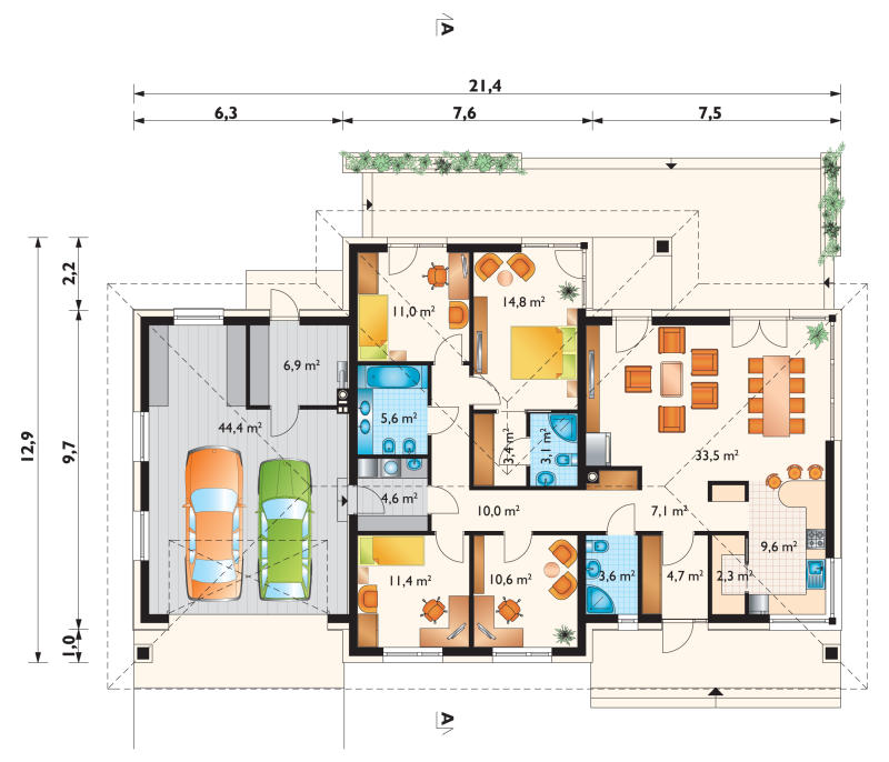 Проект дома Вереника - зеркальное отражение (E-59)