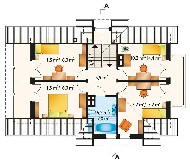 Проект дома Бериллий - зеркальное отражение (E-60)