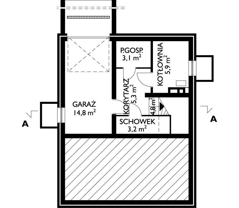 Проект дома Бегония - зеркальное отражение (E-62)