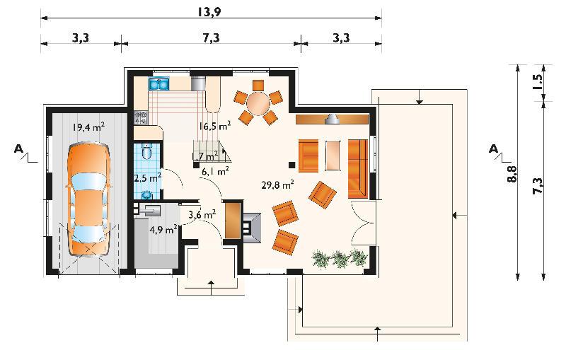 Проект дома Бобр - зеркальное отражение (E-75)