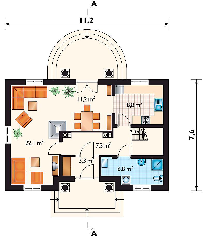 Проект дома Богория - зеркальное отражение (E-68)