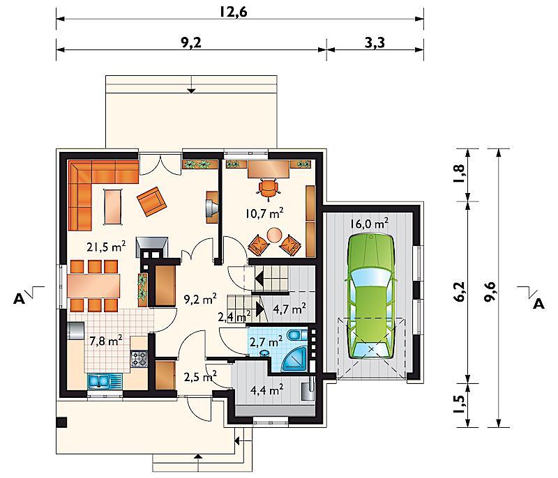 Проект дома Черника - зеркальное отражение (E-72)
