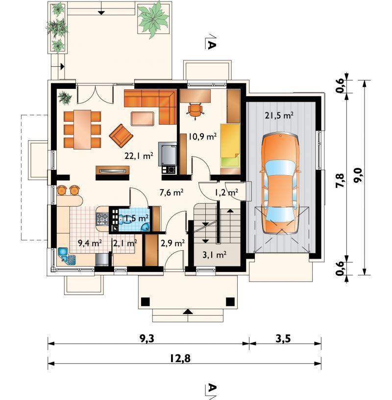 Проект дома Сосна - зеркальное отражение (E-87)