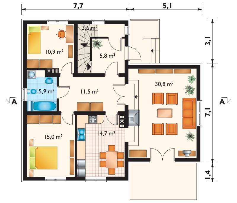 Проект дома Цикада - зеркальное отражение (E-93)