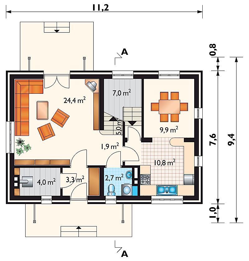 Проект дома Кирило - зеркальное отражение (E-100)
