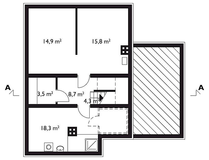 Проект дома Шотландец - зеркальное отражение (E-105)