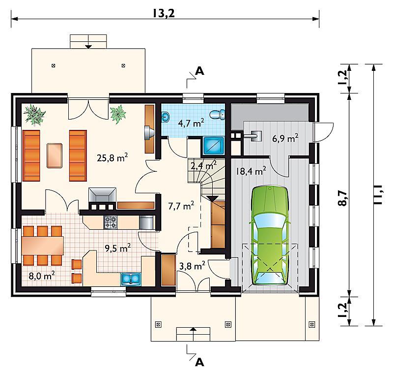 Проект дома Дельта - зеркальное отражение (E-108)