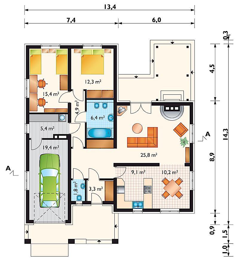 Проект дома Дмитрий - зеркальное отражение (E-109)