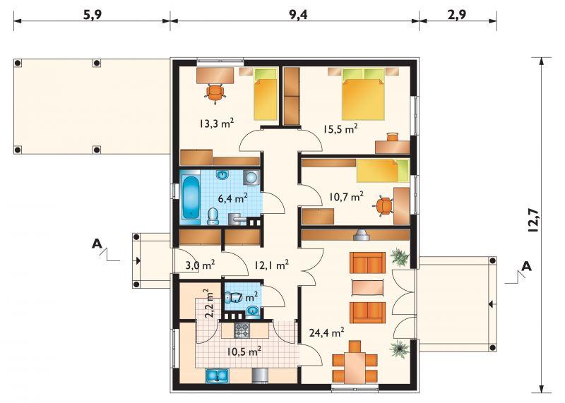 Проект дома Домино - зеркальное отражение (E-116)