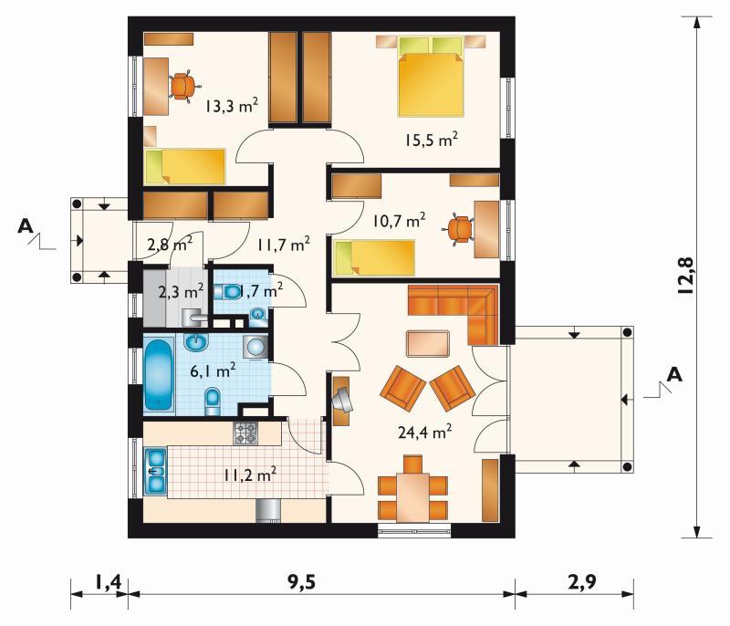 Проект дома Домино - 2 - зеркальное отражение (E-117)