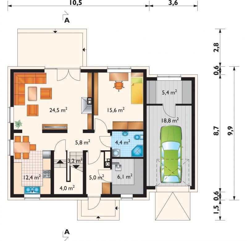 Проект дома Дрозд Эко - зеркальное отражение (E-784)