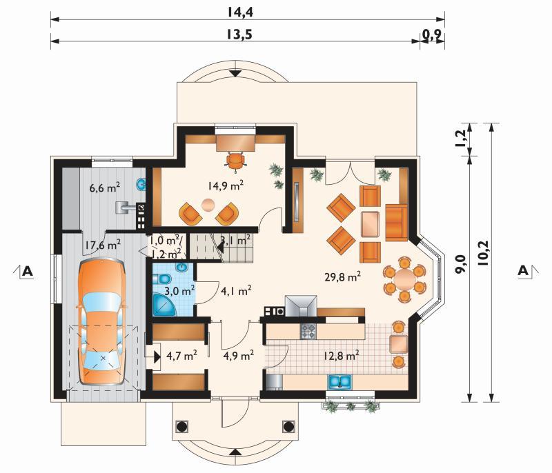 Проект дома Дымша Люкс - зеркальное отражение (E-890)