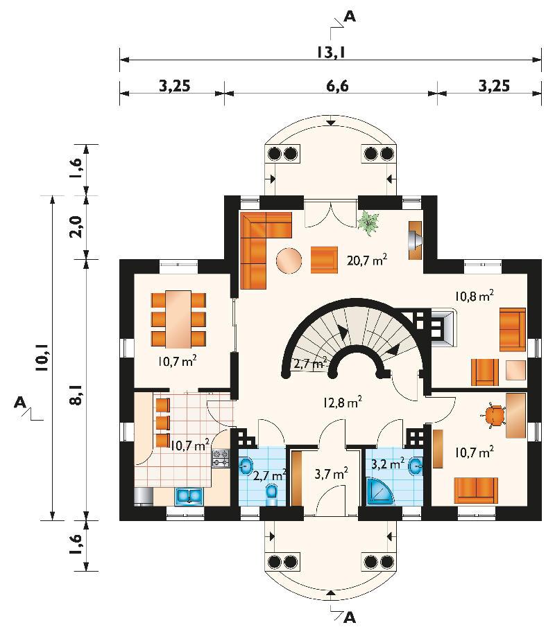 Проект дома Дятел - зеркальное отражение (E-134)