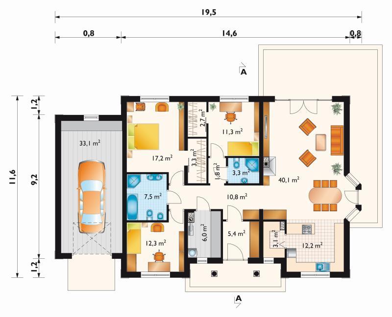 планировка одноэтажных домов из пеноблоков