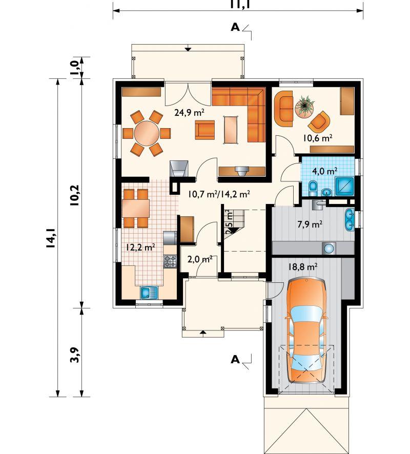 Проект дома Фаустин - зеркальное отражение (E-146)
