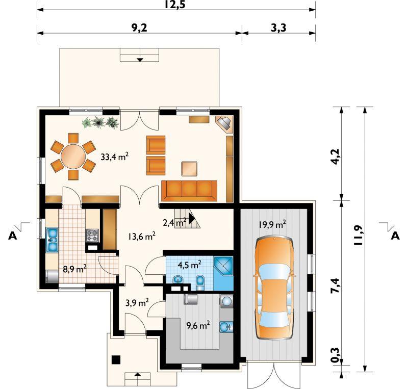 Проект дома Желание - зеркальное отражение (E-155)