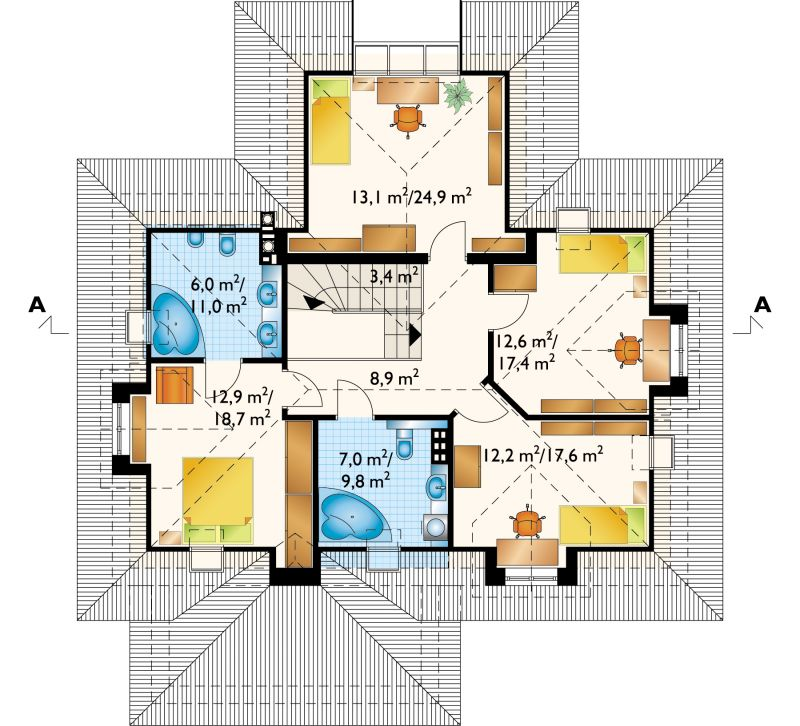 Проект дома Гаспар - зеркальное отражение (E-165)