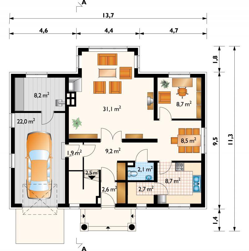 Проект дома Гавот - зеркальное отражение (E-168)