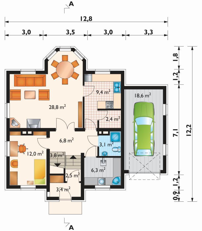 Проект дома Снегирь - зеркальное отражение (E-172)