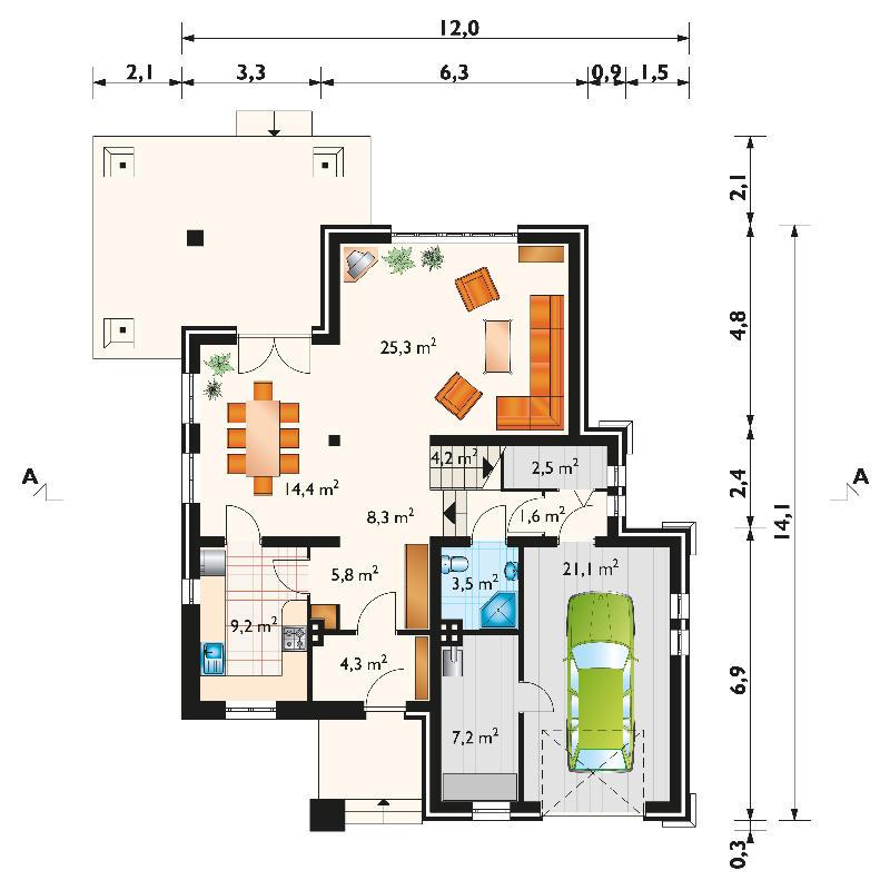 Проект дома Гладиолус - зеркальное отражение (E-175)