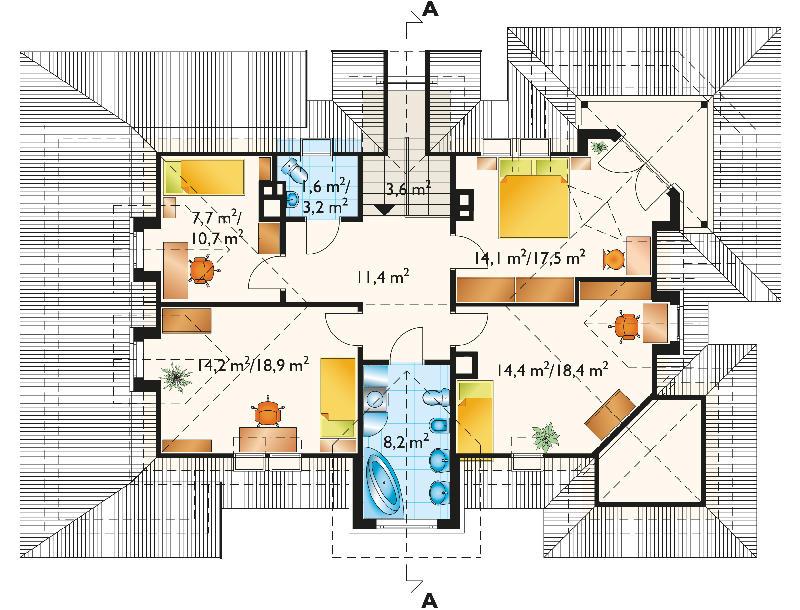 Проект дома Городок - зеркальное отражение (E-182)