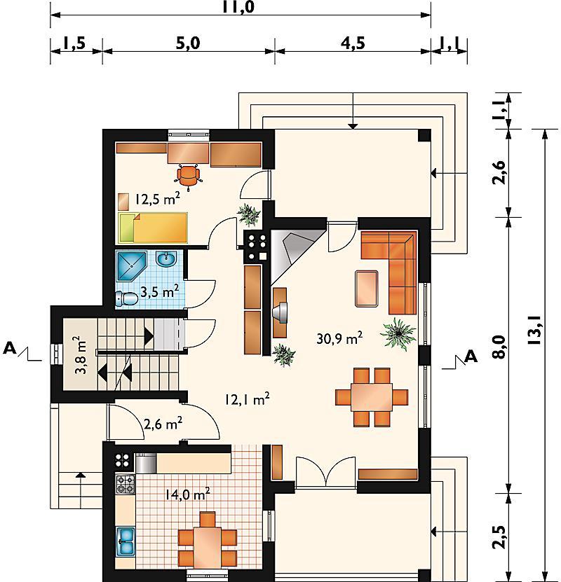 Проект дома Грот - зеркальное отражение (E-595)