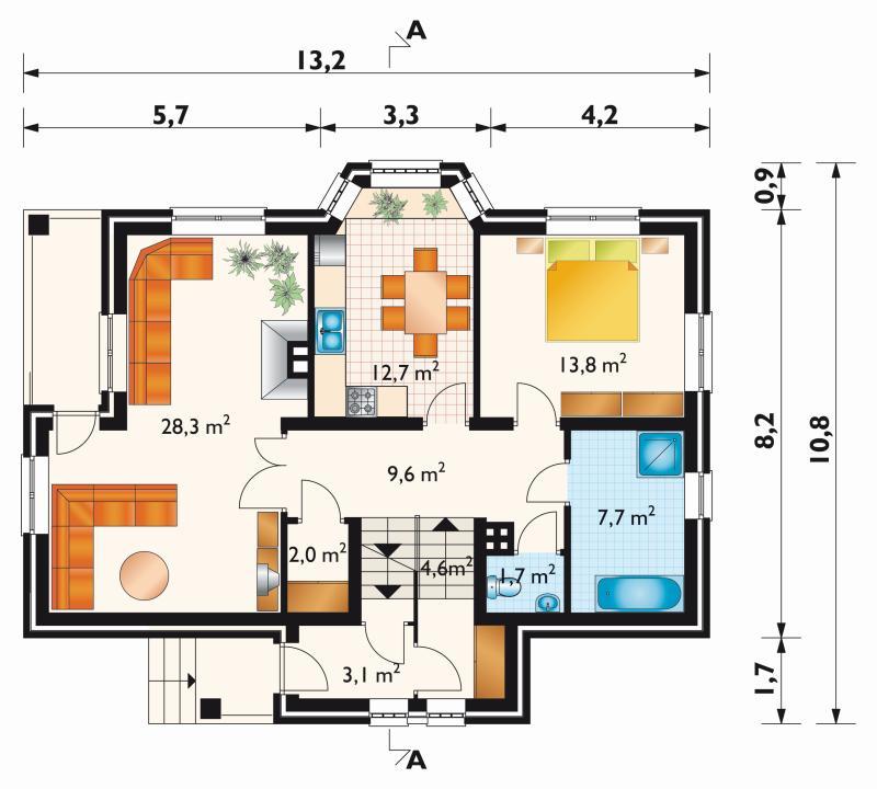 Проект дома Кварцит - зеркальное отражение (E-288)