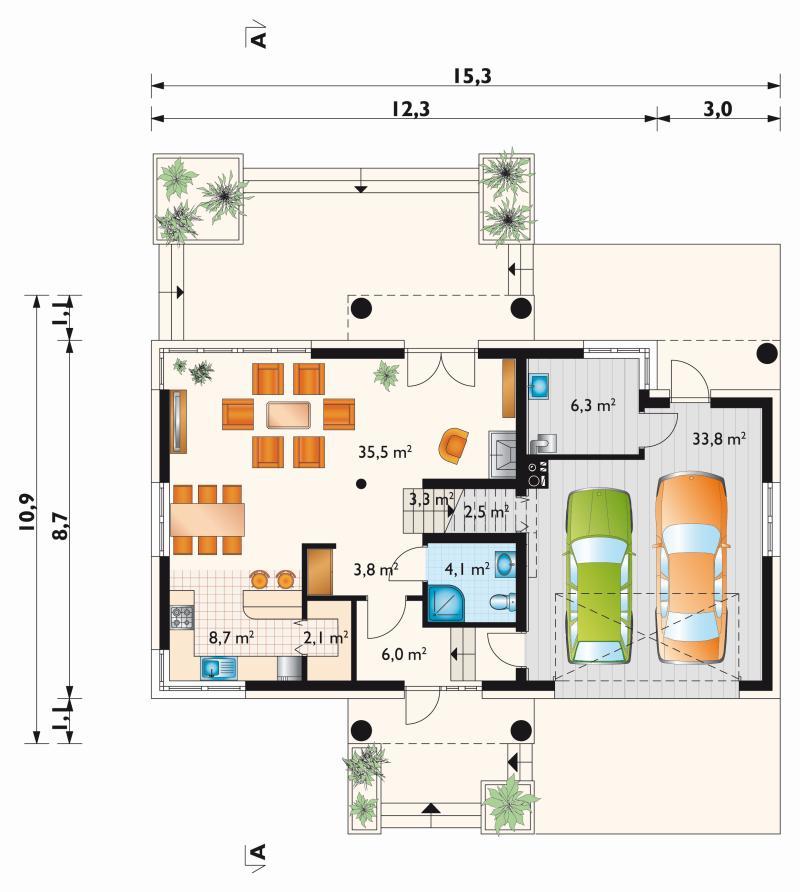 Проект дома Малина Сто (E-1232)