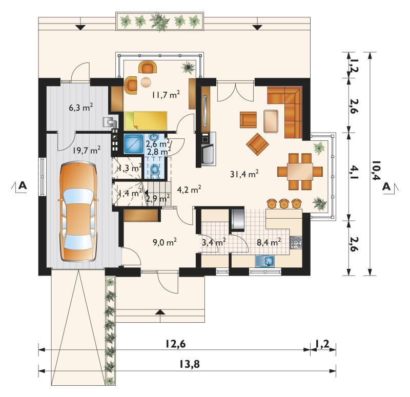 Проект дома Пабло Кубик - зеркальное отражение (E-1089)