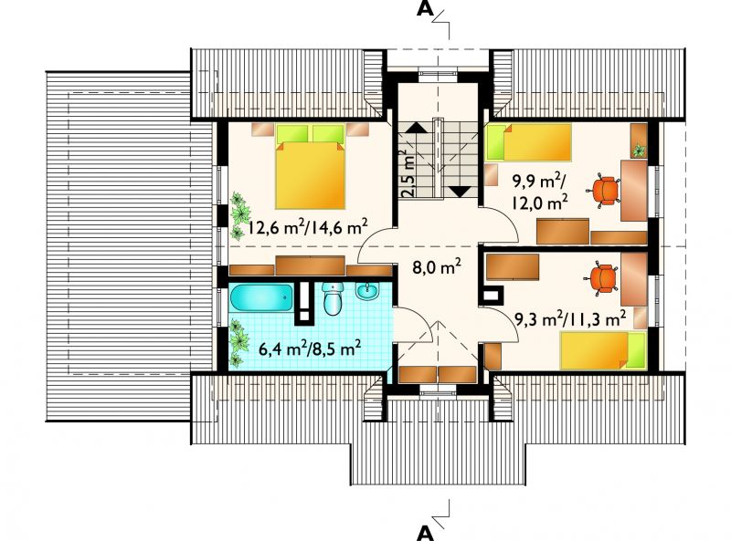 Проект коттеджа Дельфин - зеркальное отражение (E-414)