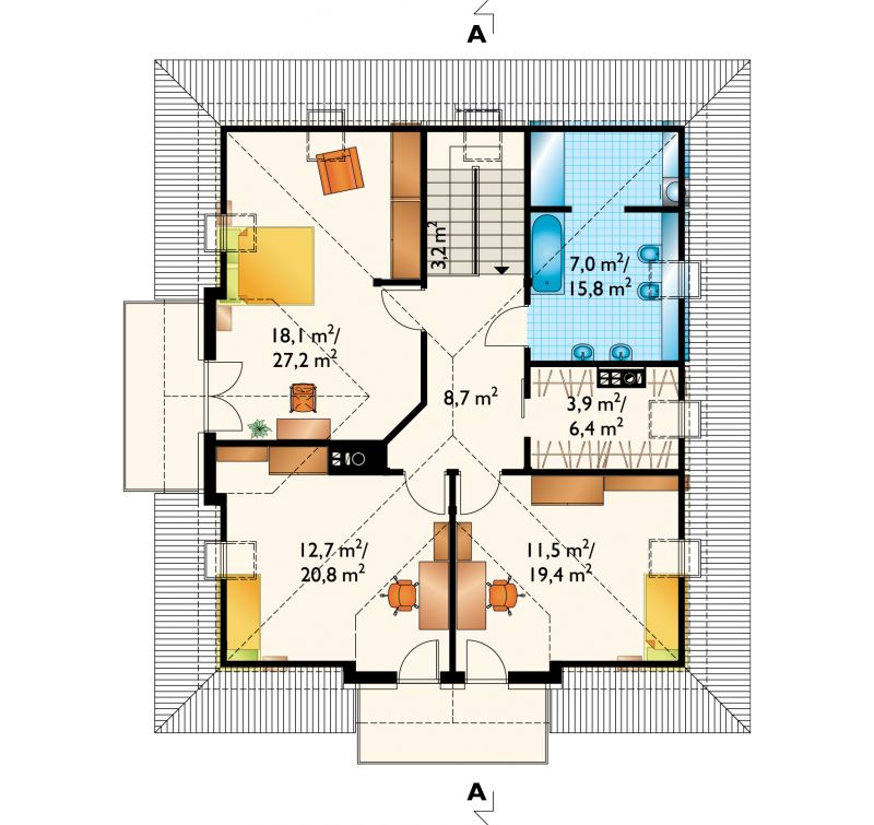 Проект дома Отличник - зеркальное отражение (E-702)