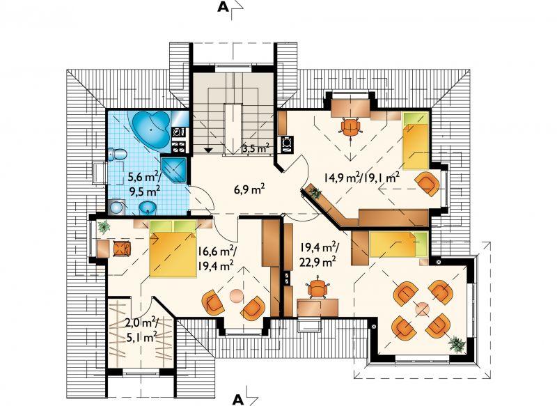 Проект дома Задора Люкс - зеркальное отражение (E-846)