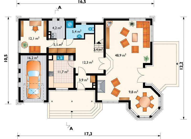 Проект дома Замочек - 2 - зеркальное отражение (E-542)