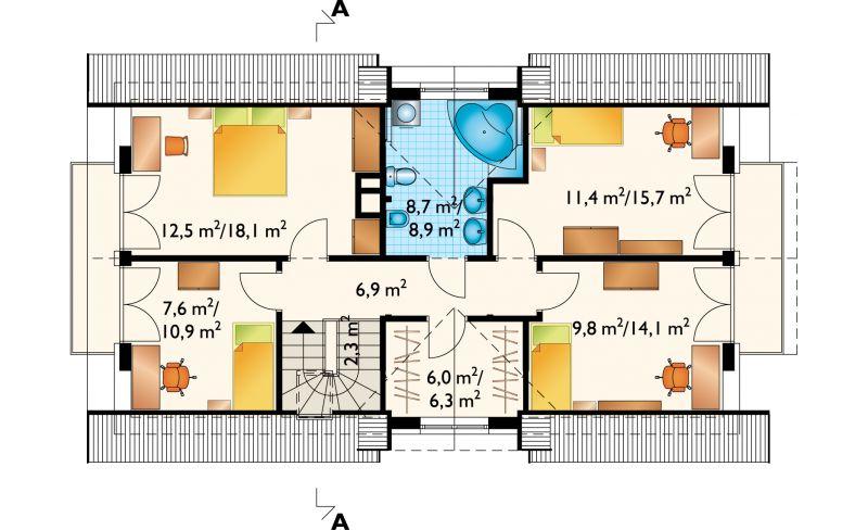 Проект дома Зебра - зеркальное отражение (E-546)
