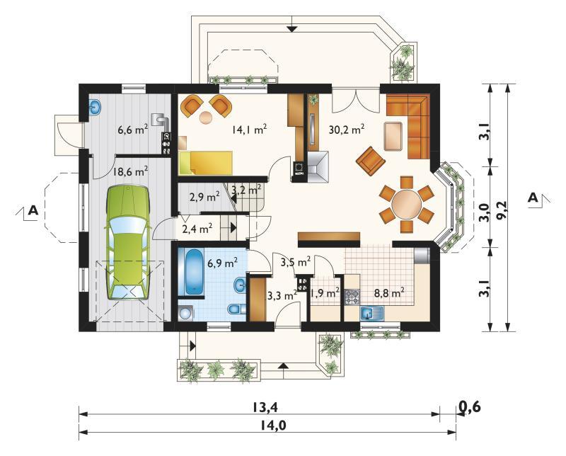 Проект дома Зоя Каро - зеркальное отражение (E-874)