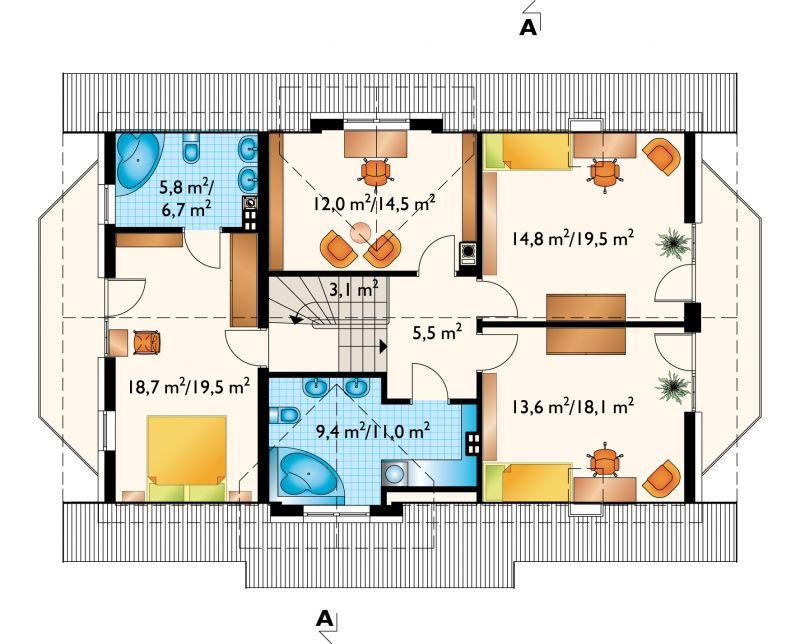 Проект дома Зоя плюс Люкс - зеркальное отражение (E-850)