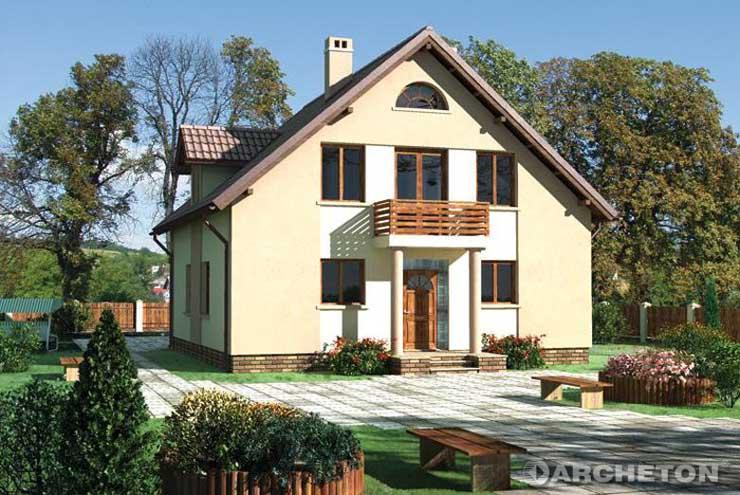 Projekt domu Abakus - dom na niewielką działkę, z pokojem kominkowym